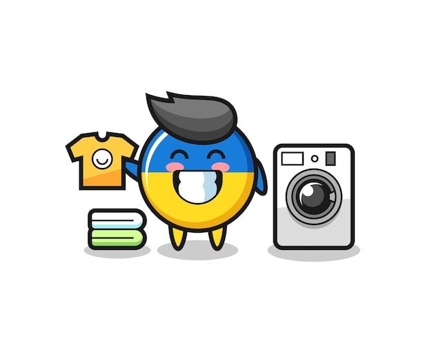 Desenho da mascote do distintivo da bandeira da ucrânia com máquina de lavar, design de estilo fofo para camiseta, adesivo, elemento de logotipo