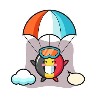 Desenho da mascote do emblema da bandeira da bélgica fazendo paraquedismo com gesto feliz