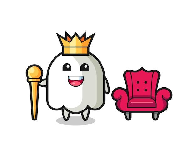 Desenho da mascote do fantasma como um rei, design de estilo fofo para camiseta, adesivo, elemento de logotipo