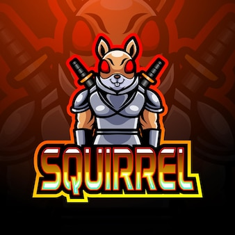 Desenho da mascote do logotipo do esquilo e do esporte