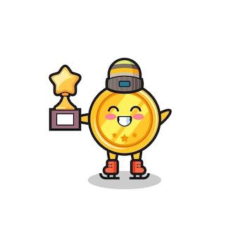 Desenho da medalha como um jogador de patinação no gelo segura o troféu do vencedor, design de estilo fofo para camiseta, adesivo, elemento de logotipo