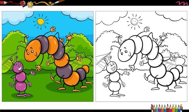 Desenho da página do livro para colorir de insetos e formigas de lagarta