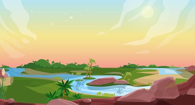 Desenho da paisagem da natureza