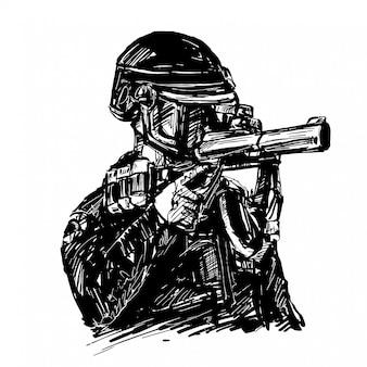 Desenho da polícia com pistola de gás lacrimogêneo