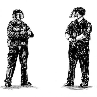Desenho da polícia está de pé na américa