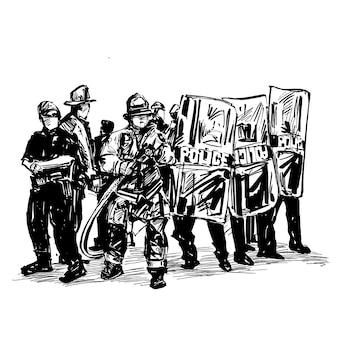 Desenho da polícia está protegendo contra manifestantes