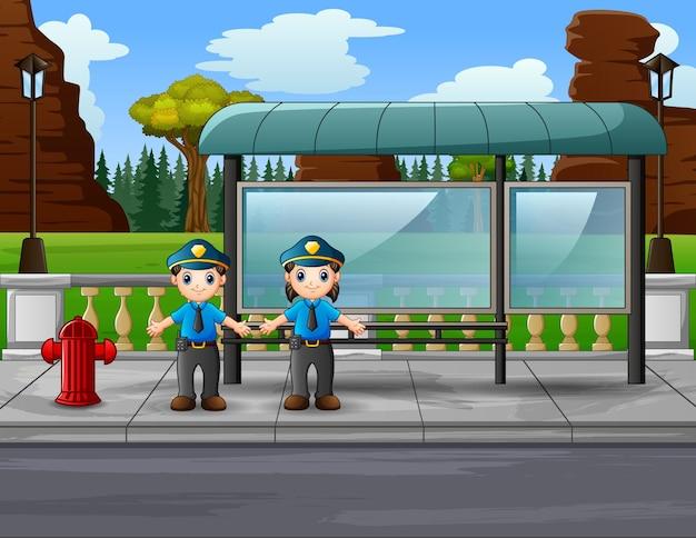 Desenho da polícia gerenciando o tráfego na estrada