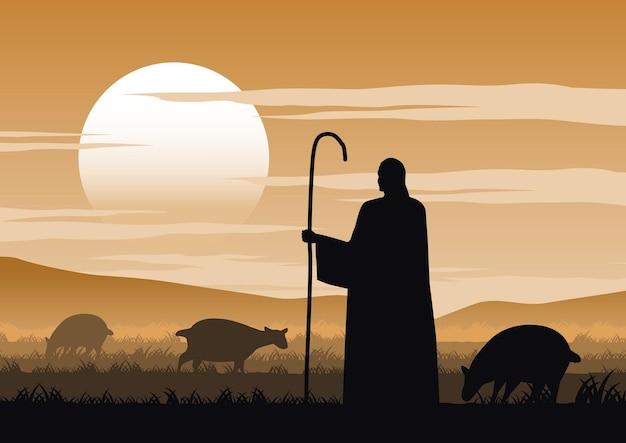 Desenho da silhueta de jesus cristo dito sobre o pastor
