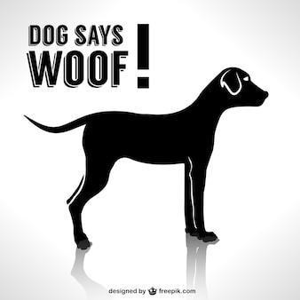 Desenho da silhueta do cão do vetor
