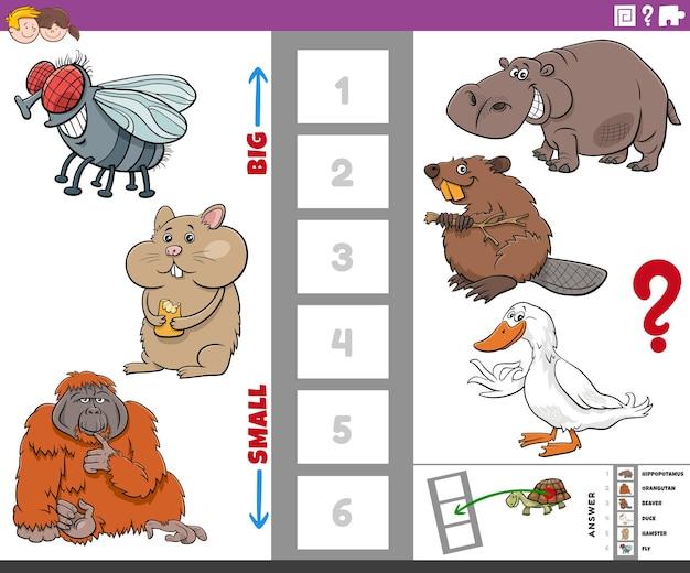 Desenho da tarefa educacional de encontrar as maiores e menores espécies animais com personagens engraçados para crianças