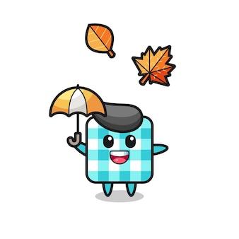 Desenho da toalha de mesa quadriculada fofa segurando um guarda-chuva no outono, design de estilo fofo para camiseta, adesivo, elemento de logotipo