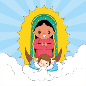 Desenho da virgem maria de guadalupe com um anjo segurando-a entre o céu