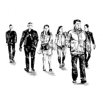 Desenho das pessoas estão andando no espaço público