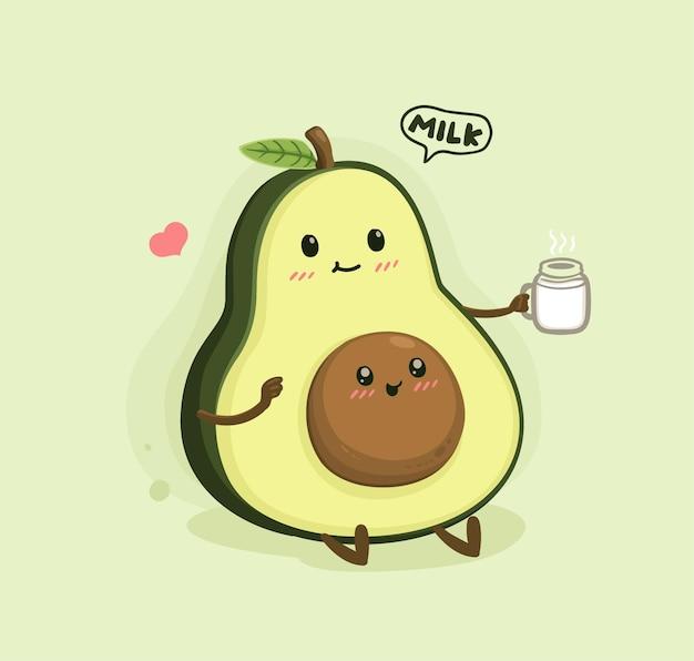 Desenho de abacate com leite materno