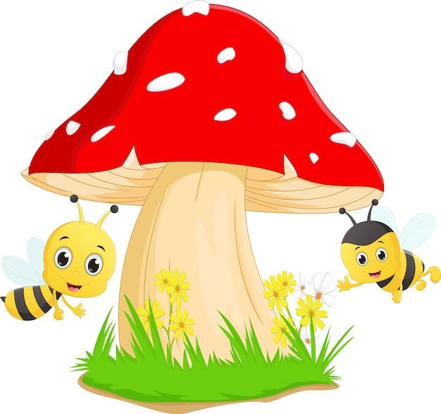 Desenho de abelha bonito com cogumelo vermelho