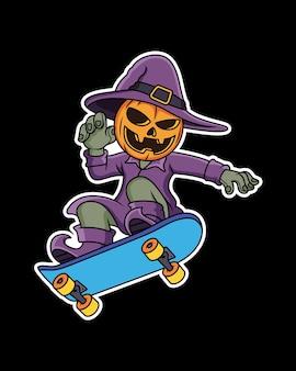 Desenho de abóbora brincar de skate em fundo preto