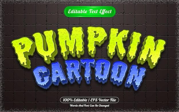 Desenho de abóbora de efeito de texto editável com tema de halloween