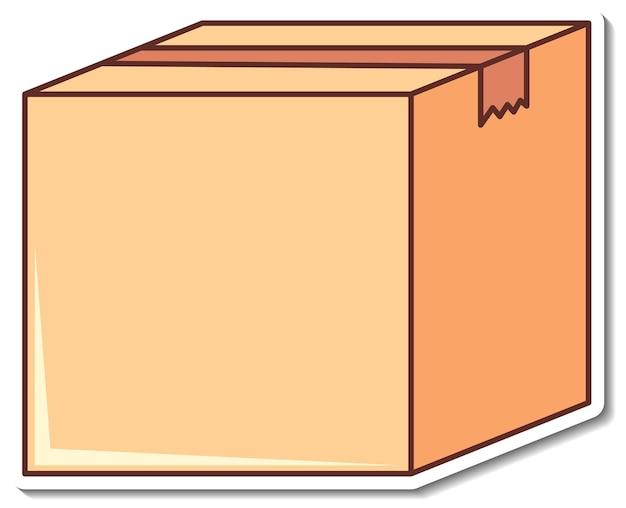 Desenho de adesivo com caixa vazia fechada isolada