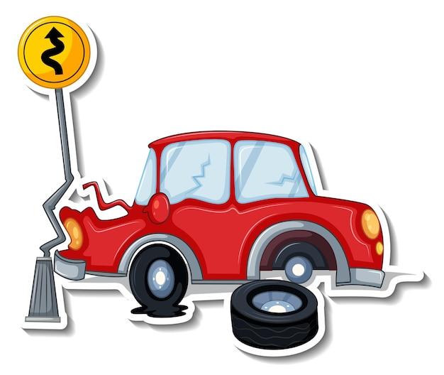 Desenho de adesivo com carro acidentado isolado