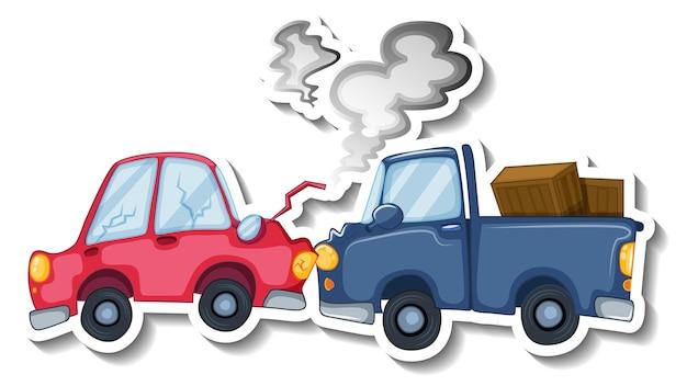 Desenho de adesivo com carros destruídos isolados