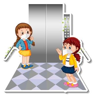 Desenho de adesivo com duas crianças usando máscara no elevador