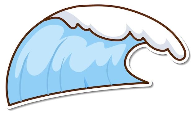 Desenho de adesivo com onda de água de praia isolada