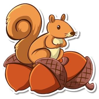 Desenho de adesivo com um esquilo em muitas bolotas isoladas