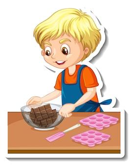 Desenho de adesivo com um menino padeiro segurando uma tigela de chocolate Vetor grátis