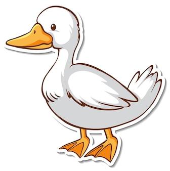 Desenho de adesivo com um pato branco isolado