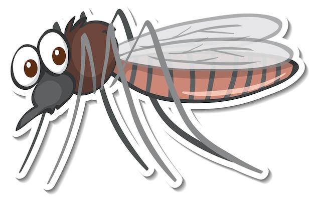 Desenho de adesivo com um personagem de desenho animado de mosquito isolado