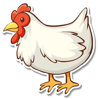 Desenho de adesivo com uma galinha isolada
