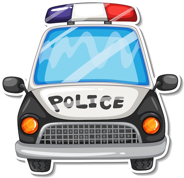 Desenho de adesivo com vista frontal de carro de polícia isolado