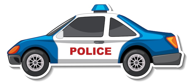 Desenho de adesivo com vista lateral de carro de polícia isolado