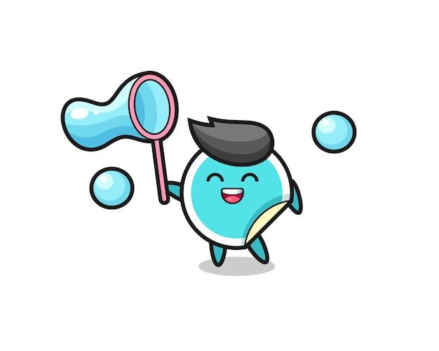 Desenho de adesivo feliz jogando bolha de sabão, design de estilo fofo para camiseta, adesivo, elemento de logotipo