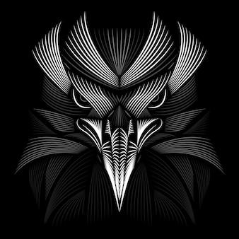 Desenho de águia. estilo linogravura. preto e branco. ilustração de linha.