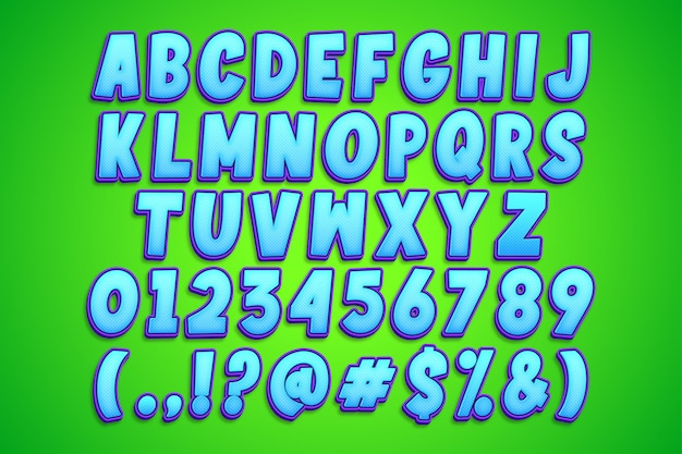 Desenho de alfabeto brilhante azul dos desenhos animados