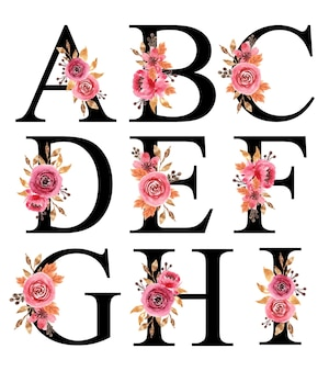 Desenho de alfabeto com flores em aquarela pintadas à mão borgonha a - i modelo editável