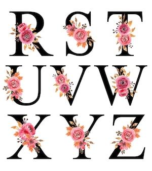Desenho de alfabeto com flores em aquarela pintadas à mão burgundy r - z modelo editável