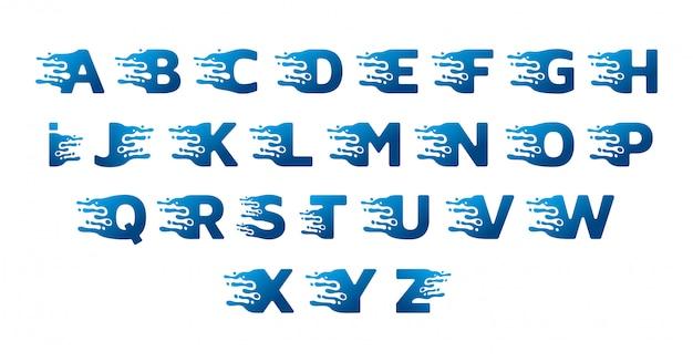 Desenho de alfabeto de água doce