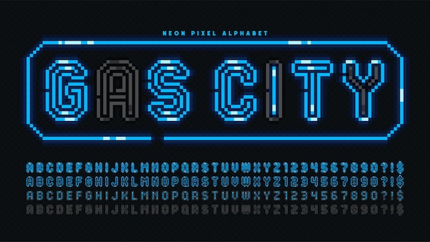 Desenho de alfabeto de néon de pixel, estilo arcade. alto contraste, retro-futurista. fácil controle de cores de amostra.