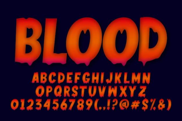 Desenho de alfabeto de sangue derretido