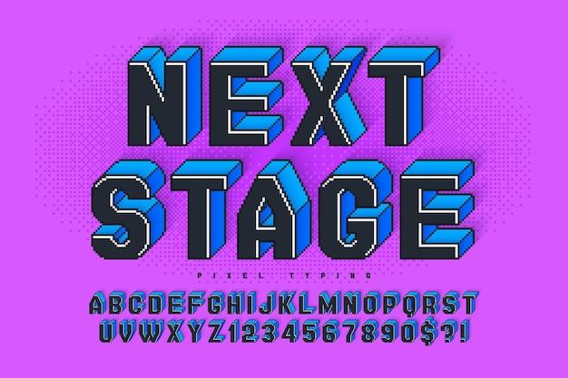 Desenho de alfabeto de vetor de pixel, estilizado como em jogos de 8 bits. alto contraste e nítido, retro-futurista. fácil controle de cores de amostra. efeito de redimensionamento.