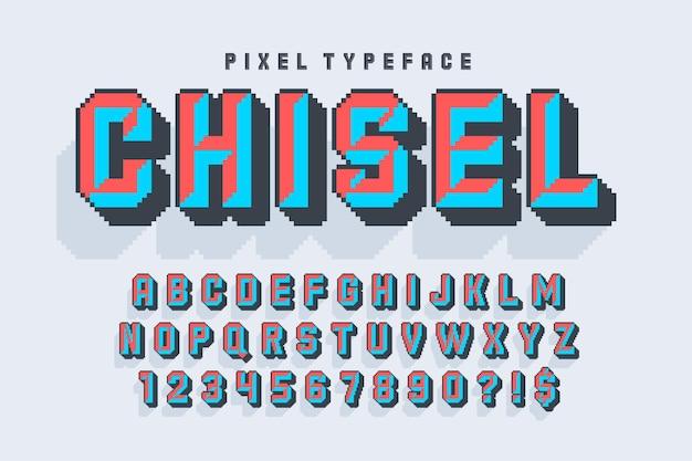 Desenho de alfabeto de vetor de pixel
