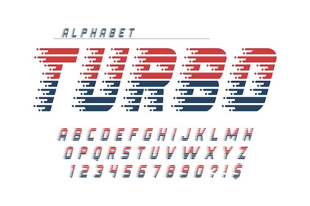 Desenho de alfabeto dinâmico, letras e números.