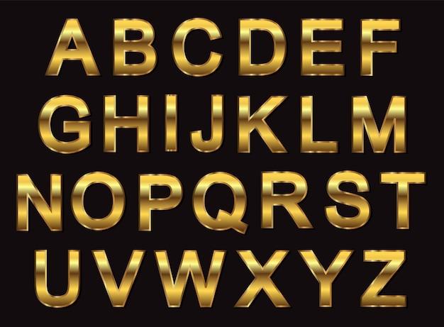 Desenho de alfabeto dourado