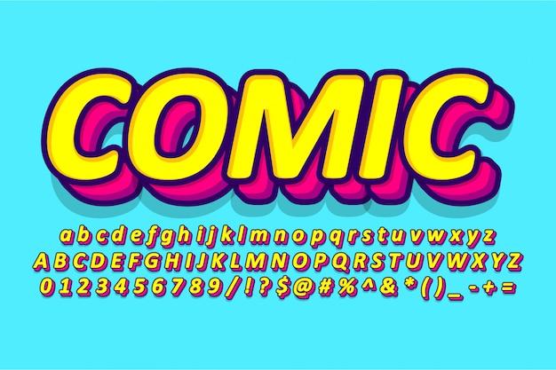 Desenho de alfabeto em quadrinhos, fonte retrô pop art