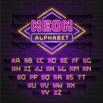 Desenho de alfabeto estilo néon