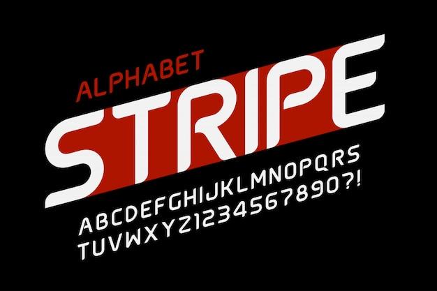 Desenho de alfabeto futurista, letras e números.