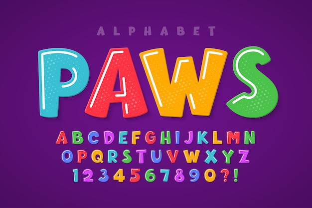 Desenho de alfabeto original cômico moderno