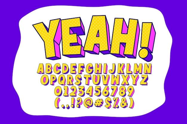 Desenho de alfabeto pop art moderno